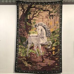 Vintage 1980s Unicorn vs Snake Tapestry